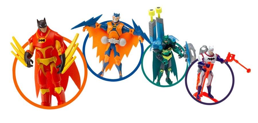 Batman in colorful costumes