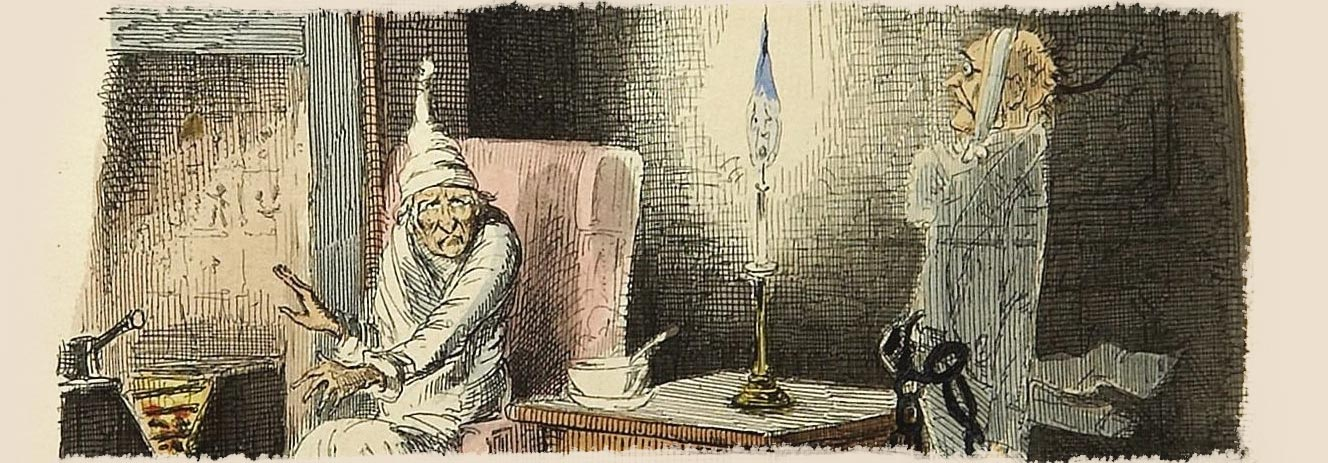 Scrooge is visited by the ghost of Jacob Marley